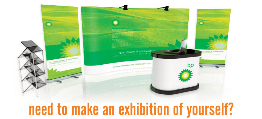 Exhibition setup - eyeleted banners, posters and wall prints - The Publicity Centre