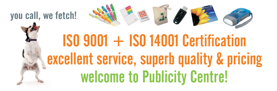 Promotional Merchandise from The Publicity Centre - ISO9001 & ISO14001